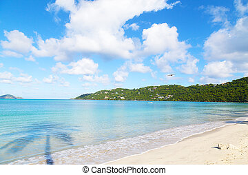 Empty beach in the early morning on St Thomas Island. Scenic...