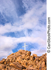 Mountain Cross - A mountain cross with a dramatic sky...