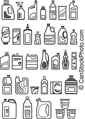 household chemicals icons - household chemicals and cleaning...
