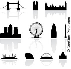London famous landmarks isolated on a white background,...