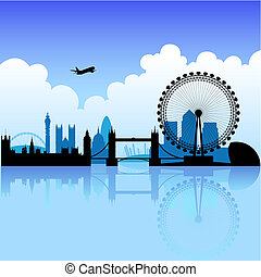 London on a bright day - London skyline silhouette on a...