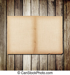 old paper on brown wood texture with natural linen texture