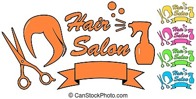 colorful isolated hair salon icons