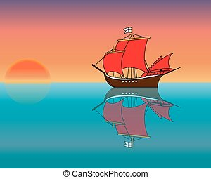 Ship in the ocean at sunset. - Cruise on a ship with scarlet...