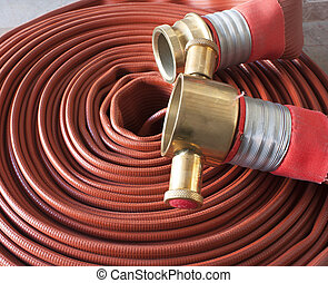 Fire hose the water hose fire red.