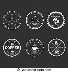 Set vintage retro coffee - Set vintage retro coffee badges...