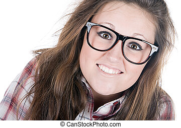 Pretty Brunette Geek - Shot of a Pretty Brunette Geek...