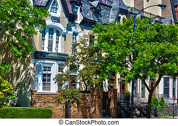 Row of Brownstone Houses in Chicago - Row of beautiful...
