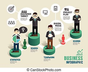 Business board game concept infographic step to...