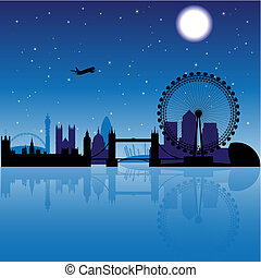 London at night - London silhouette at night with stars and...