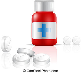 medication - a bottle of painkiller drugs isolated on white,...