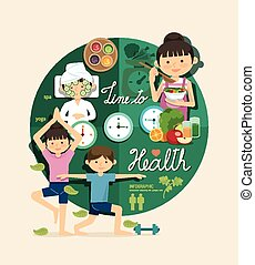 Boy and girl time to health and beauty design infographic,learn concept vector illustration
