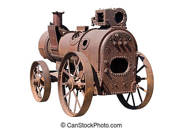 machine by steam engine - isolated object on white - machine...