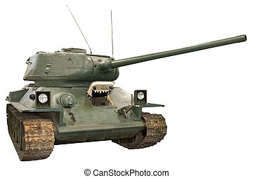 military panzer - isolated object on white - military tank
