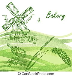 Bakery set. Hand drawn windmill, wheat, grain with watercolor ba