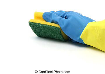 housekeeping and cleaning concepts hand with glove isolated...