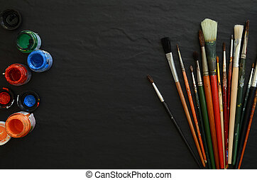 Still life with professional art materials