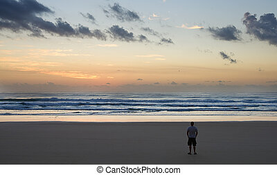 Shot of the Moment Just Before Sunrise on Fraser Island,...