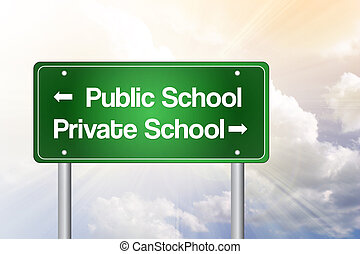 Public or Private School Green Road Sign, Education Concept...