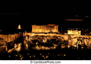 nights of parthenon - landmark of athens greece parthenon at...