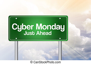 Cyber Monday Just Ahead Green Road Sign with Dramatic Clouds and