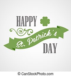 Happy Saint Patrick's Day Card. Typographic With Ornaments,...
