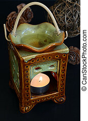 Aromatherapy lamp with candle