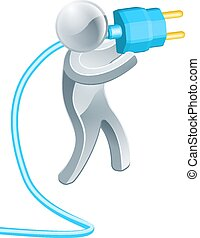 Man holding plug - A silver man holding a big blue electric...