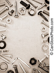 hardware tools at metal background texture