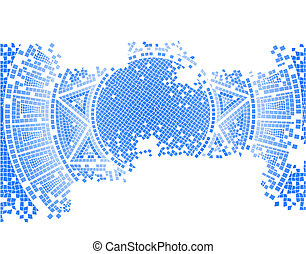 blue old mosaic background, vector illustration