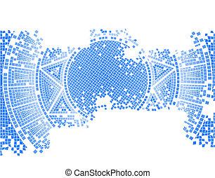 blue old mosaic background, vector illustration