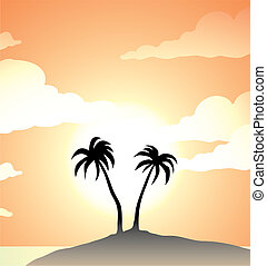 palm trees on a tropical island, vector illustration