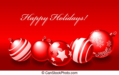 Happy Holidays - Abstract vector illustration of red...