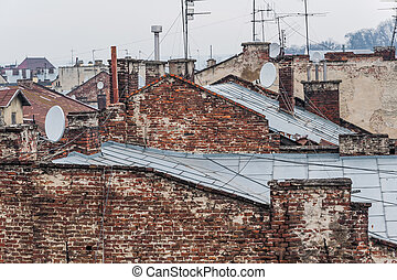 Ancient European city - View over the roofs of the ancient...