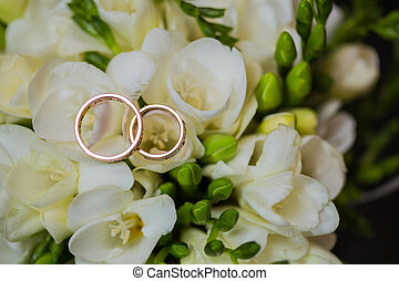 Two wedding rings in infinity sign. Love concept. - Two...