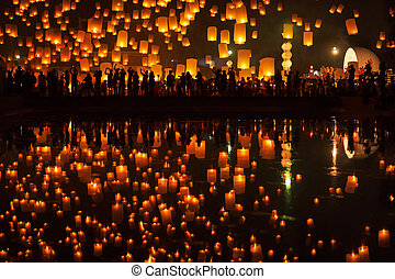 Tudongkasatarn is where floating lamp ceremony - Thai people...