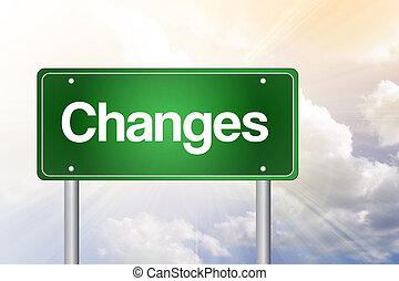 Changes Green Road Sign, business concept