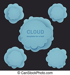 Abstract blue clouds. Template for a text