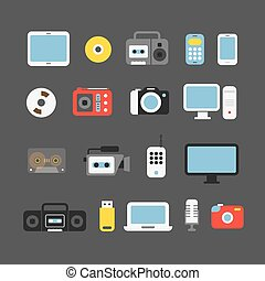 Different color media devices collection. Design elements