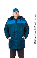 Man in winter work wear. Isolated on a white background.