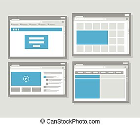 web site page templates collection Flat design