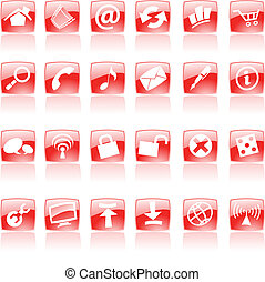 Red web icons - Red web and computer icons on white, vector...