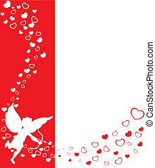 eros and hearts - love angel eros on a red background with...