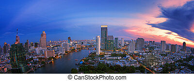 Landscape of River in Bangkok city in night time with bird...