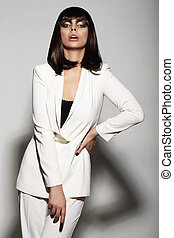 Luxurious Fashion Model in White Suit