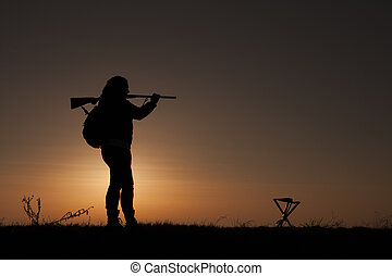 Women Hunter - Female Upland Game Hunter in Sunset
