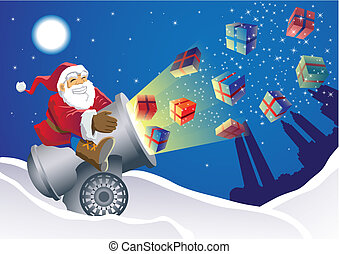 Santa Gift Launcher delivering the gifts in an unusual way,...