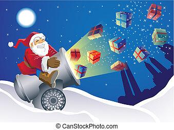 Santa, cadeau, lanceur