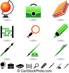 school objects - Educational icons and design elements...