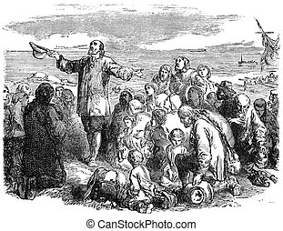 Pilgrim Fathers Leaving England - An engraved illustration...